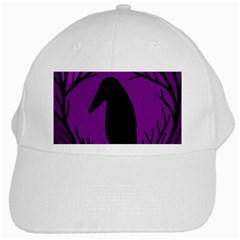 Halloween raven - purple White Cap