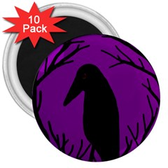Halloween raven - purple 3  Magnets (10 pack)