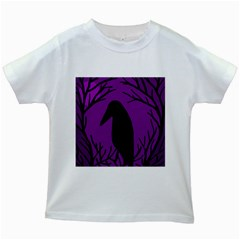 Halloween raven - purple Kids White T-Shirts