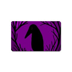 Halloween raven - purple Magnet (Name Card)