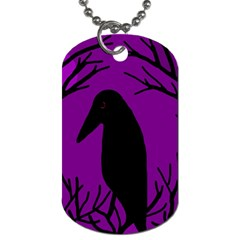 Halloween raven - purple Dog Tag (One Side)