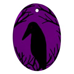 Halloween raven - purple Oval Ornament (Two Sides)