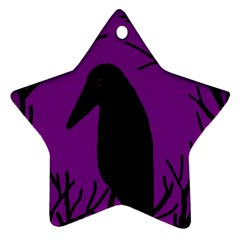 Halloween raven - purple Star Ornament (Two Sides)