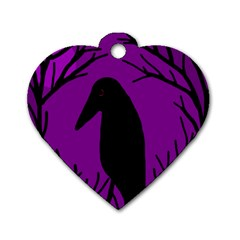 Halloween raven - purple Dog Tag Heart (Two Sides)