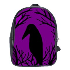 Halloween raven - purple School Bags(Large)