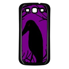 Halloween raven - purple Samsung Galaxy S3 Back Case (Black)