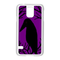Halloween raven - purple Samsung Galaxy S5 Case (White)