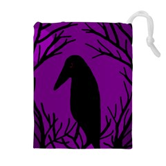 Halloween raven - purple Drawstring Pouches (Extra Large)