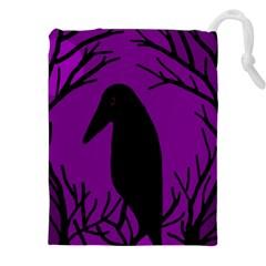 Halloween raven - purple Drawstring Pouches (XXL)