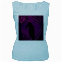 Halloween raven - magenta Women s Baby Blue Tank Top