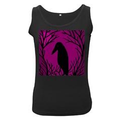 Halloween raven - magenta Women s Black Tank Top