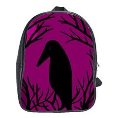 Halloween raven - magenta School Bags(Large)