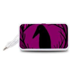 Halloween raven - magenta Portable Speaker (White)