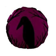 Halloween raven - magenta Standard 15  Premium Round Cushions