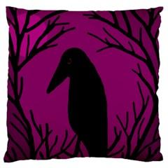 Halloween raven - magenta Large Flano Cushion Case (Two Sides)