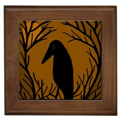 Halloween raven - brown Framed Tiles