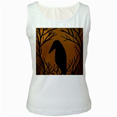 Halloween raven - brown Women s White Tank Top