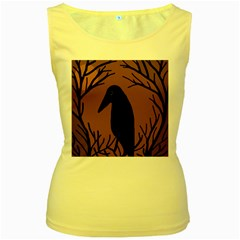 Halloween raven - brown Women s Yellow Tank Top