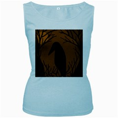 Halloween raven - brown Women s Baby Blue Tank Top
