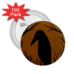 Halloween raven - brown 2.25  Buttons (100 pack)
