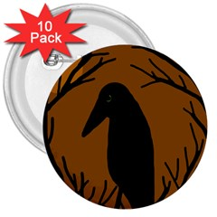 Halloween raven - brown 3  Buttons (10 pack)