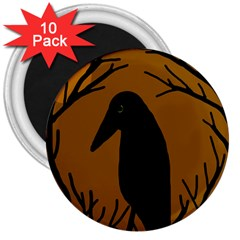 Halloween raven - brown 3  Magnets (10 pack)