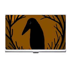 Halloween raven - brown Business Card Holders