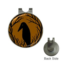 Halloween raven - brown Hat Clips with Golf Markers