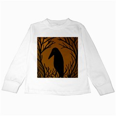 Halloween raven - brown Kids Long Sleeve T-Shirts