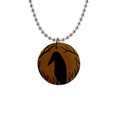 Halloween raven - brown Button Necklaces