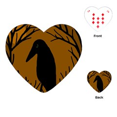 Halloween raven - brown Playing Cards (Heart)
