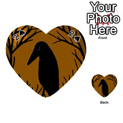 Halloween raven - brown Playing Cards 54 (Heart)