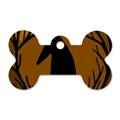 Halloween raven - brown Dog Tag Bone (Two Sides)
