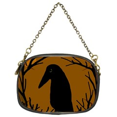 Halloween raven - brown Chain Purses (One Side)