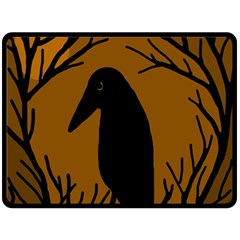 Halloween raven - brown Fleece Blanket (Large)