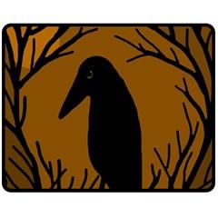 Halloween raven - brown Fleece Blanket (Medium)