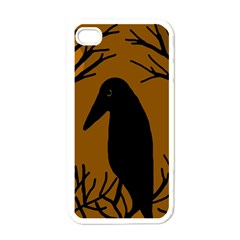 Halloween raven - brown Apple iPhone 4 Case (White)