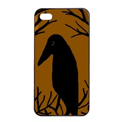 Halloween raven - brown Apple iPhone 4/4s Seamless Case (Black)