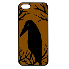 Halloween raven - brown Apple iPhone 5 Seamless Case (Black)