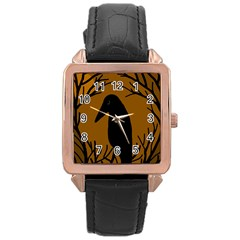 Halloween raven - brown Rose Gold Leather Watch