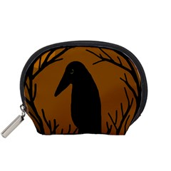 Halloween raven - brown Accessory Pouches (Small)