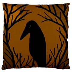 Halloween raven - brown Large Flano Cushion Case (Two Sides)