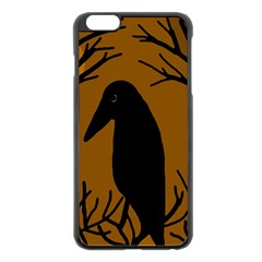 Halloween raven - brown Apple iPhone 6 Plus/6S Plus Black Enamel Case