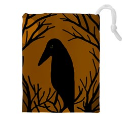 Halloween raven - brown Drawstring Pouches (XXL)