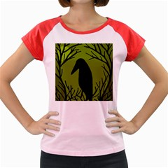 Halloween raven - green Women s Cap Sleeve T-Shirt