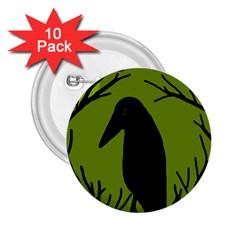 Halloween raven - green 2.25  Buttons (10 pack)