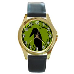 Halloween raven - green Round Gold Metal Watch