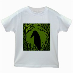 Halloween raven - green Kids White T-Shirts