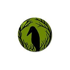 Halloween raven - green Golf Ball Marker