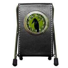 Halloween raven - green Pen Holder Desk Clocks